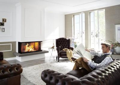 Brunner Panorama-Kamin - 57/25/121/25 im Wohnraum im englischen Landhaus